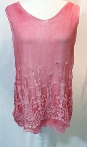 Soft Surroundings Sz Small Pink Sequin Tunic Top